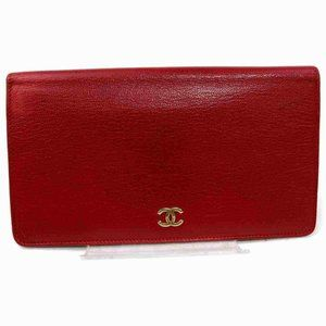 Auth Chanel Long Wallet Red Leather #N0445H37